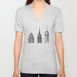 New York City Iconic Buildings-Empire State, Flatiron, One World Trade Unisex V-Neck