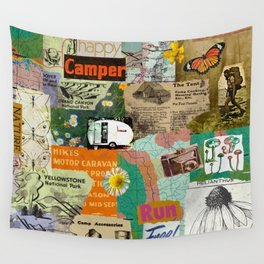 RETRO CAMPING COLLAGE Wall Tapestry