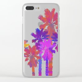 Vibrant Palmtrees No.1 (sticker/white) Clear iPhone Case