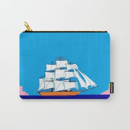 A Clipper Ship at Sunset, Pink clouds and Sun, Nautical Scene Carry-All Pouch