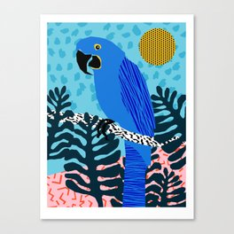 Steaz - memphis throwback tropical retro minimal bird art 1980s 80s style pattern parrot fashion Canvas Print