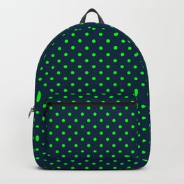 Mini Navy and Neon Lime Green Polka Dots Backpack