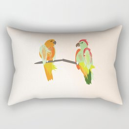 parrots, birds on a wire branch Rectangular Pillow