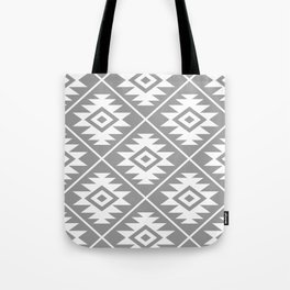 Aztec Symbol Pattern White on Gray Tote Bag