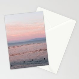 Surfers At Sunset in Santa Cruz Stationery Cards