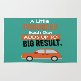 A Little Progress Each Day Adds Up To Big Result Inspirational Motivational Quote Design Rug
