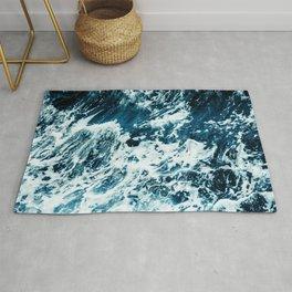 Disobedience - ocean waves painting texture Rug