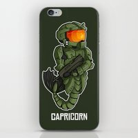 master chief iPhone & iPod Skins featuring CAPRICORN MASTER CHIEF by Mademoiselle Zim