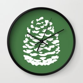 Pinecone Green and White Wall Clock