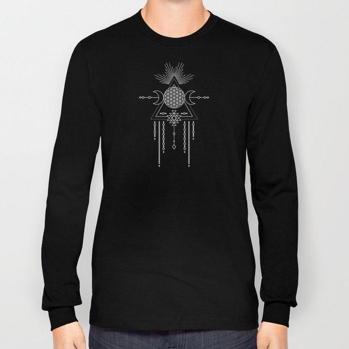 Mandala Flower of Life in Turquoise Stars Long Sleeve T-shirt