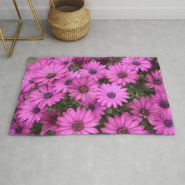 A Crowd Of Pink Purple Daisies Rug