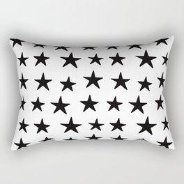 Star Pattern Black On White Rectangular Pillow
