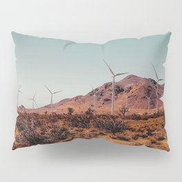 Wind turbine in the desert with mountain view at Kern County California USA Pillow Sham