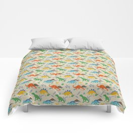 Jurassic Dinosaurs in Primary Colors Comforters