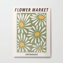 Flower market poster, Copenhagen, Posters aesthetic, Flower art, Chamomile, Daisy art print, Floral art Metal Print
