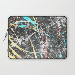 Abstract teal yellow paint splatters gray marble Laptop Sleeve