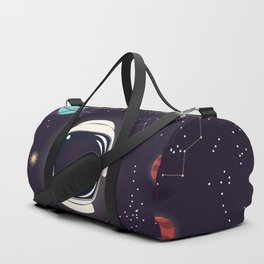 Universe with planets, stars and astronaut helmet seamless pattern 003 Duffle Bag