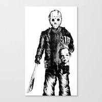 michael myers Canvas Prints featuring Jason VS Michael Myers by Oscars Moreno