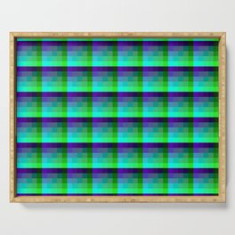 Purple and Teal Checkered Pixel Art Pattern Serving Tray