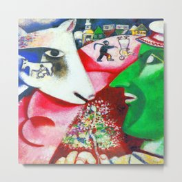 Marc Chagall Me and the Village Metal Print