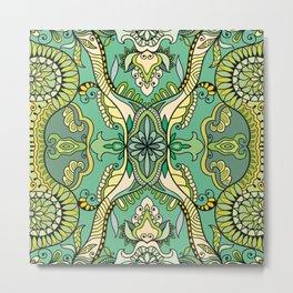 Green Boho Pattern Metal Print