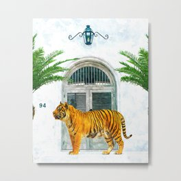 94 Tropical, Greece Architecture Buildings Tiger Wild Cat Watercolor Palm Travel Bohemian Painting Metal Print
