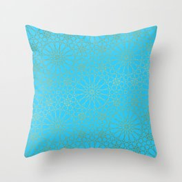 Moroccan Nights - Gold Teal Mandala Pattern - Mix & Match with Simplicity of Life Throw Pillow