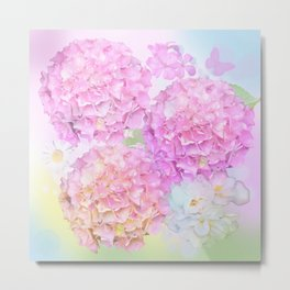 Pink Hortensias and other flowers Metal Print