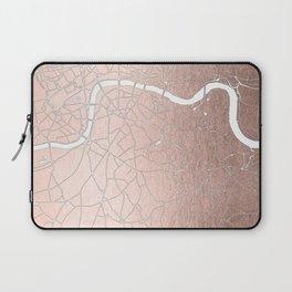 RoseGold on White London Street Map II Laptop Sleeve