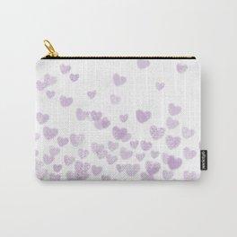 Hearts falling painted pastels purple heart pattern minimal art print nursery baby art Carry-All Pouch