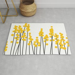 Hello Spring! Yellow/Black Retro Plants on White #decor #society6 #buyart Rug