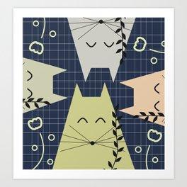 A few happy cats Art Print