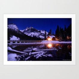 Emerald Lake Log Cabin Art Print