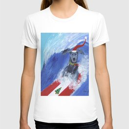 Christmas Surfing Weimaraner T-shirt