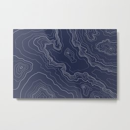 Navy topography map Metal Print
