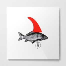 FCS Fin on a Surfing Surfer Fish Metal Print