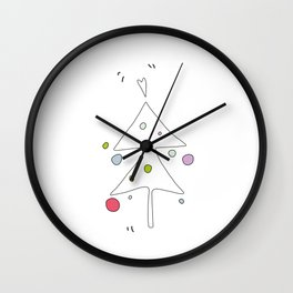 Cute Graphic Christmas Tree Wall Clock