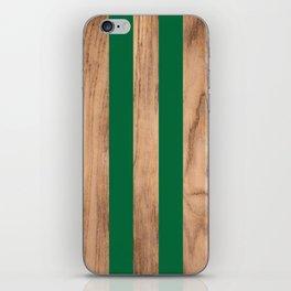 Wood Grain Stripes - Green #319 iPhone Skin