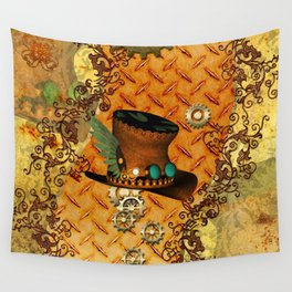 Steampunk, hat with clocks and gears Wall Tapestry