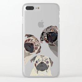 Triple Pugs Clear iPhone Case