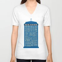 doctor V-neck T-shirts featuring Doctor Who  by Luke Eckstein