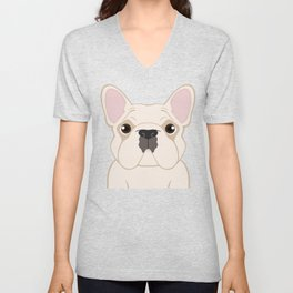 Frenchie - Cream Unisex V-Neck