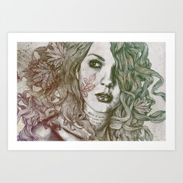 Wake: Autumn (street art woman with maple leaves tattoo) Art Print
