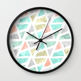 Modern geometrical abstract marble triangles pattern Wall Clock