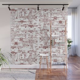 F-18 Blueprints // Red Ink Wall Mural