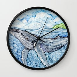 """""""Up for a breath"""" Whale alcohol ink on tile Wall Clock"""