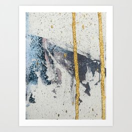 Synergy: a minimal, abstract mixed-media piece in gold, blue, and purple by Alyssa Hamilton Art Art Print