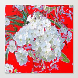 DELICATE RED & WHITE LACE FLORAL Canvas Print