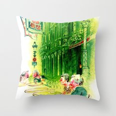 Cafe in Bruges Throw Pillow