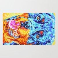 rottweiler Area & Throw Rugs featuring Rottweiler by LiliyaChernaya